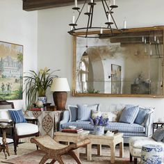 lovely living room in blues and white