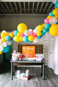A Colorful Wedding at The Unique Space - Feathered Arrow Wedding Planning-A surprising welcome table with bright, neon acrylic signage and a balloon garland at this colorful wedding at Unique Space LA. Rainbow Balloons, Colourful Balloons, Balloon Garland, Balloon Decorations, Wedding Welcome Table, Neutral Wedding Colors, Bright Color Wedding, Love Story Wedding, Neon Party