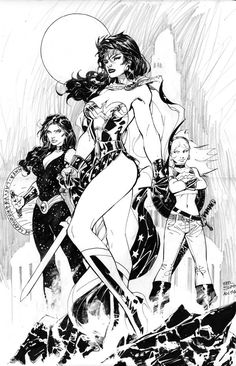 Wonder Woman, Donna Troy and Wonder Girl by Jim Lee
