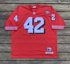 2b7948449 Details about Ronnie Lott  42 49ers Mitchell   Ness 1989 Throwbacks Jersey  Size 58. Ronnie LottSan Francisco 49ersRebelNflNfl Football