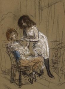 Two Women (One Seated): 1903 by William James Glackens - Pastel on green wove paper 13 x 9 in. (The Barnes Foundation, Philadelphia, PA) - Post Impressionism, The Eight American Realism, American Art, William Glackens, Albert Barnes, Ashcan School, Barnes Foundation, Williams James, Post Impressionism, Van Gogh
