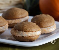 Pumpkin Whoopie Pies - Spiced-pumpkin cookies sandwiched with cream cheese frosting.  www.tastefullysimple.com/web/ezann
