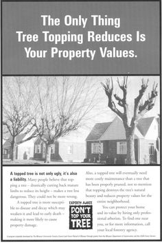 [Image] Topping Reduces Property Values Tree Care, Property Values, Tree Tops, Plant Care, Missouri, Campaign, Trees, Community, Image