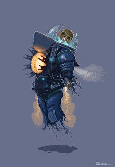 """""""Autonomous Space Suit"""" http://pixelartus.com/tagged/autonomous-space-suit … #pixelart by ~oncle gab"""