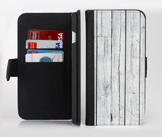 The White Wood Planks Ink-Fuzed Leather Folding Wallet Credit-Card Case for the Apple iPhone 6/6s, 6/6s Plus, 5/5s and 5c from DesignSkinz