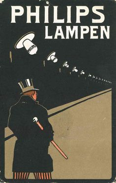 Postcard advertising Philips lamps – The Man With The Top hat, 1909.