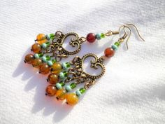Green Dragon Vein Agate Earrings from juta ehted - my jewelry shop by DaWanda.com