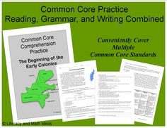 Common Core Reading, Language, and Writing Combined~  This time-saving document makes it easy to integrate reading and social studies as well as cover multiple Common Core Standards simultaneously. $