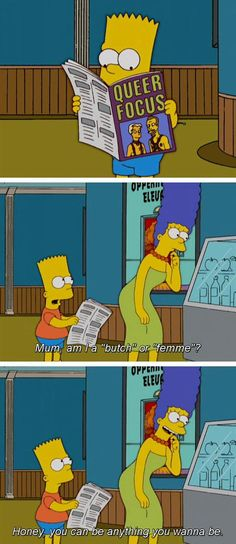 Marge Simpson is doing it right. I am very interested when other kids try to gender my child or the times that she genders others...