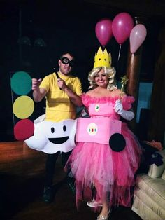 Princess peach and latiku from Mario kart Halloween homemade costumes