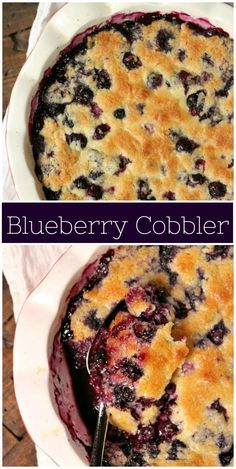 Easy Fresh Blueberry Cobbler recipe from via recipegirl Blueberry Cobbler Recipes, Fruit Cobbler, Blueberry Desserts, Just Desserts, Delicious Desserts, Yummy Food, Easy Cobbler Recipe, Blueberry Cobler, Cobbler Topping
