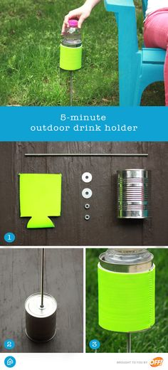 Wherever you're off to this summer, keep cool with this DIY drink holder! Just make a hole in the bottom of a recycled tin can, place a metal rod through the hole, and use the washers and nuts to secure the metal rod to the tin can. Once secure, stick the metal rod in the ground near your campsite or lawn chair, grab your favorite beverage and enjoy!