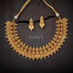 Designer lakshmi kasu design antique necklace plated with gold polish and made of copper alloy #antique#necklaces #earrings #jewellery#kushalsfashionjewellery