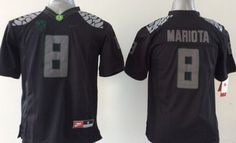 """$25.88 at """"MaryJersey"""" (maryjerseyelway@gmail.com) #8 Marcus Mariota - Ducks Blackout Stitched Youth/Men NCAA Jersey"""