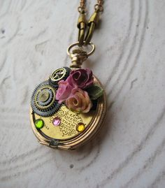 'Antique Pocket Watch Case Necklace vintage hand painted china rose pin jewels watch fob chain' is going up for auction at  3pm Mon, Oct 29 with a starting bid of $19.