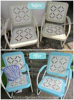 Maybe do something similar color-wise with the rattan patio furniture Metal Patio Furniture Makeover - Top 60 Furniture Makeover DIY Projects and Negotiation Secrets Patio Furniture Makeover, Metal Patio Furniture, Outside Furniture, Chair Makeover, Furniture Projects, Diy Furniture, Furniture Design, Garden Furniture, Furniture Logo