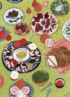 the little book of jewish celebrations - yelena bryksenkova Jewish Celebrations, Jewish Art, Naive Art, Little Books, Food Illustrations, Book Gifts, Cute Illustration, Food Art, Design Art