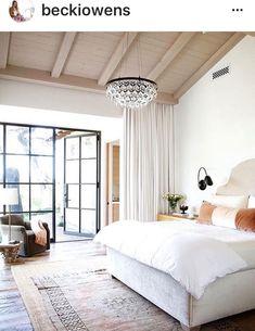 Bedroom, metal windows, white bedroom.   Serene bedroom .Love this Becky Owens