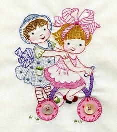 Embroidered blocks from Fun Girls Quilt | Flickr - Photo Sharing!