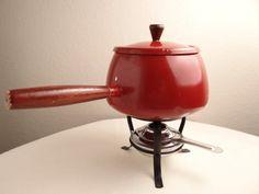 Vintage Red Enamel Fondue Pot by theoldmilkbarn on Etsy
