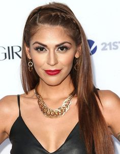 2014 Melissa Barrera Long Hairstyles: Straight Hairstyle for Braids Bangs