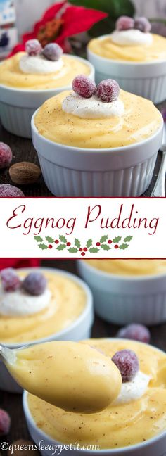 This sweet and creamy Homemade Eggnog Pudding is the best way to use up any extra eggnog from your holiday celebration! Top it off with sweetened whipped cream and sugared cranberries for a yummy and festive holiday treat! Köstliche Desserts, Holiday Baking, Christmas Desserts, Delicious Desserts, Dessert Recipes, Filipino Desserts, Eggnog Pudding Recipe, Pudding Recipes, Eggnog Biscotti Recipe