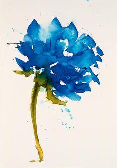 Hydrangea Flower Watercolor Painting ORIGINAL Watercolor