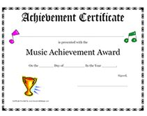 Printable music certificates free music certificate templates music award certificate yadclub Choice Image