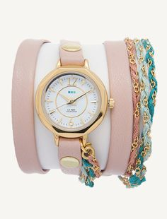 "Gold Del Mar Case. Nude 5/16"" leather strap with gold rivets. Sydney Friendship Bracelet"