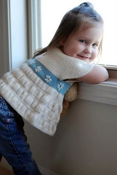 Free Knitting Patterns: Free Knitting Pattern: Girl Sweater, Tea Party Frock Free baby sweater knitting patterns at http://intheloopknitting.com/free-baby-and-child-sweater-knitting-patterns/