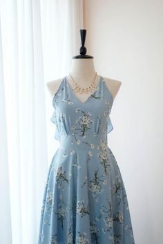 Petite Dresses, Cute Dresses, Vintage Dresses, Beautiful Dresses, Backless Homecoming Dresses, Blue Bridesmaid Dresses, Casual Dress Outfits, Girly Outfits, Elegant Outfit