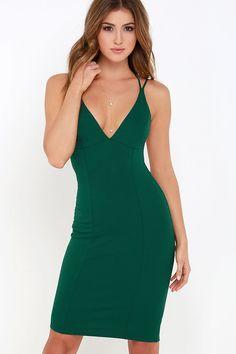 24a65076bbc Be-All Trend-All Backless Dark Green Midi Dress
