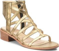 056bb022c GENESIS in Old Gold. A modern gladiator with an open heel. Leather  Gladiator Sandals. Isola Shoes