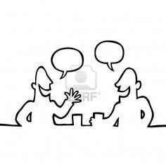 Zwart-wit lijntekening van twee mensen die een vriendelijk gesprek en een drankje. Stockf.oto