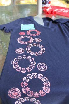 bleach pen t-shirt -  combining stencils to make a larger design