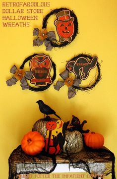 Dollar Store Wreaths with custom vintage halloween images