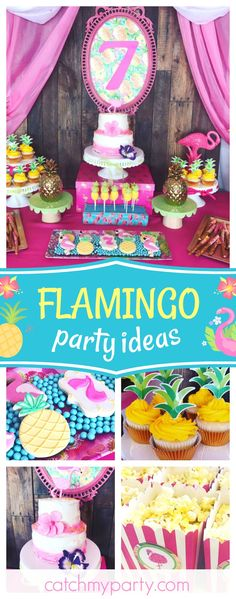 Check out this cool summer Flamingo birthday party! The birthday cake is gorgeous!! See more party ideas and share yours at CatchMyParty.com