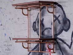 Copper Pipe Shelving unit in an Industrial / Urban / Vintage style. 2 Tier Hand Crafted Shelves with African Sapele Hardwood. Craft Shelves, Pipe Shelves, Wood Shelves, Copper And Brass, Copper Shelving, Handmade Shelving, Floating Platform, Pipes