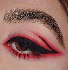 Make up; look; make up looks; make up augen; make up prom;make up face; Makeup Eye Looks, Cute Makeup, Pretty Makeup, Red Eye Makeup, Clown Makeup, Contour With Eyeshadow, Red Eyeshadow, Easy Eyeshadow, Contour Kit