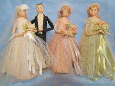 Vintage Crepe Paper Doll Wedding Party Bride Groom Maids Antique Estate House   eBay