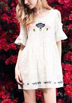 White Floral Print Embroidery Peplum Cut Out Off-shoulder Cute Mini Dress