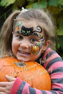 Black Cat face painting. Girls Halloween face painting idea by Let's Bounce Inflatables www.letsbounceinflatables.ca 604-210-2339