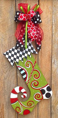 Christmas Door Hanger Wood Stocking Decorations by TheRedWoodBarn