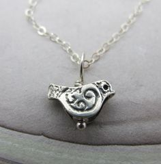 Little Bird Necklace  in sterling silver by by KathrynRiechert, $26.00