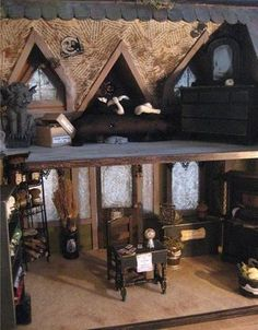 Dollhouse Minis: Spellweaver Witch's Shop by Lisa Kline - look at the ceiling in the loft! Great idea to mural it with spells!