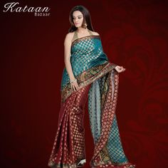 Two Color Blue And Maroon Chanderi Saree