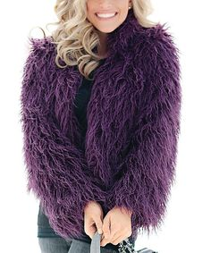 Look at this Donna Salyers' Fabulous-Furs Plum Faux Fur Fashionista Jacket on #zulily today!