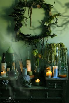 Halloween display...love the incorporation of moss