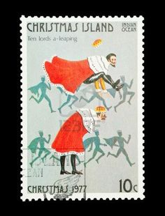 Christmas Island mail stamp featuring the tenth gift from the Twelve Days of Christmas Stock Photo - 8702738
