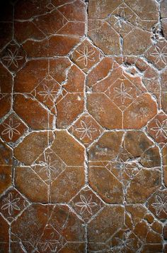 Old Catalan terracotta flooring; Tim Clinch photo - Handmade tiles can be colour coordinated and customized re. shape, texture, pattern, etc. by ceramic design studios Floor Design, Tile Design, Ceramic Design, Tile Art, Mosaic Tiles, Cement Tiles, Tile Patterns, Textures Patterns, Terracotta Floor